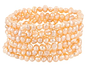 4-5mm Peach Cultured Freshwater Pearl Stretch Bracelet Set of 6