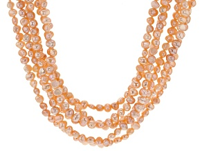 4-5mm Peach Cultured Freshwater Pearl, Rhodium Over Silver 22 Inch Multi-Strand Necklace