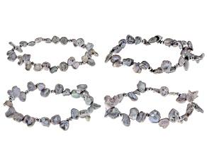 7.5-8.5mm Silver Cultured Keshi Freshwater Pearl & Silver Hematine Stretch Bracelet Set of 4