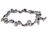 7.5-8.5mm Silver Cultured Keshi Freshwater Pearl & Silver Hematine Stretch Bracelet Set of 4