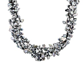 7.5-8.5mm Cultured Keshi Freshwater Pearl & Hematine Rhodium Over Silver 18 Inch Necklace