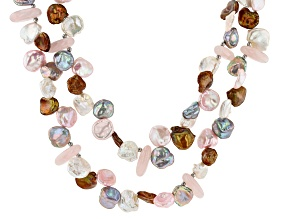 6-13mm Cultured Keshi Freshwater Pearl & Rose Quartz Rhodium Over Silver 18 Inch Necklace