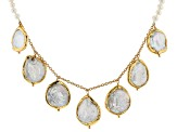 4.5-18.5mm Cultured Freshwater Pearl 18k Yellow Gold Over Silver & Gold Tone Accent 18 Inch Necklace
