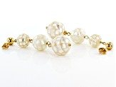 10-14mm White Mother-Of-Pearl, 18k Yellow Gold Over Sterling Silver ball Earrings