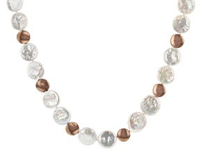 14-15mm White Cultured Freshwater Pearl & Hematine, 18k Rose Gold Over Silver 18 Inch Necklace