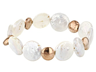 1ad9d2f27eae52 14-15mm White Cultured Freshwater Pearl & Rose Hematine Stretch Bracelet