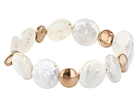 14-15mm White Cultured Freshwater Pearl & Rose Hematine Stretch Bracelet