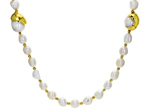 7-12mm Cultured Freshwater Pearl & Hematine Yellow Gold Tone Accent 40 Inch Endless Necklace