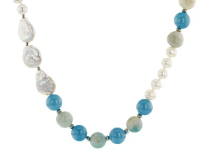 8-17mm Cultured Freshwater Pearl, Amazonite, Agate with Rhodium Over Silver 34 Inch Necklace