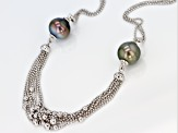 12mm Cultured Tahitian Pearl, Rhodium Over Sterling Silver 20 Inch Necklace