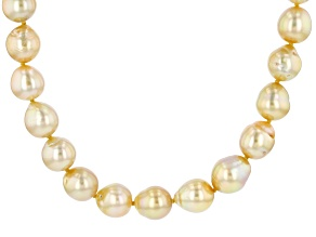 Golden Cultured South Sea Pearl, 18k Yellow Gold Over Sterling Silver 20 Inch Necklace 8-10mm