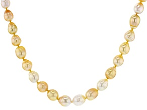 Multi-Color Cultured South Sea Pearl, 18k Yellow Gold Over Sterling Silver 20 Inch Necklace 8-10mm