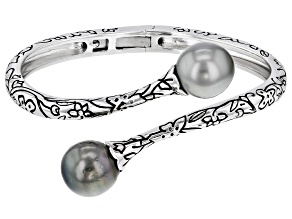 11mm Cultured Tahitian Pearl, Rhodium Over Sterling Silver Bangle Bracelet