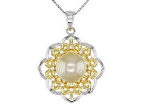 Cultured South Sea Pearl & Topaz 18k Yellow Gold Over Silver & Rhodium Over Silver Pendant And Chain