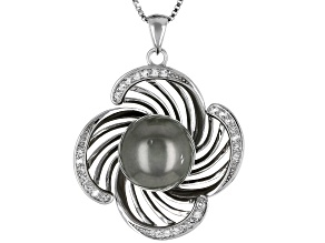 11mm Cultured Tahitian Pearl & White Topaz Rhodium Over Silver Pendant with Chain