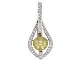 9mm Golden Cultured South Sea Pearl & White Topaz Rhodium Over Sterling Silver Enhancer