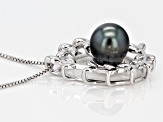 9mm Cultured Tahitian Pearl Rhodium Over Sterling Silver Pendant With Chain