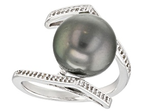 11mm Cultured Tahitian Pearl & White Topaz Rhodium Over Sterling Silver Ring