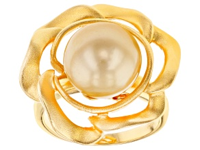 11mm Golden Cultured South Sea Pearl, 18k Yellow Gold Over Sterling Silver Ring