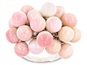 6mm Pink Conch Shell Rhodium Over Sterling Silver Bead Ring
