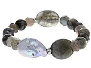 13-15mm Cultured Freshwater Pearl, Labradorite & Bella Luce(R) Silver Tone Bead Stretch Bracelet