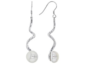 9.5-10mm White Cultured Freshwater Pearl Rhodium Over Sterling Silver Earrings