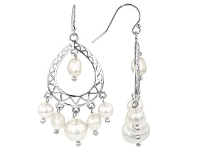 5.5-8mm White Cultured Freshwater Pearl, Rhodium Over Sterling Silver Earrings