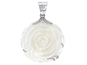 40mm White Mother-Of-Pearl 0.54ctw Bella Luce ® Rhodium Over Sterling Silver Flower Enhancer