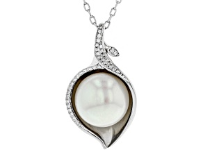 11-12mm Cultured Freshwater Pearl & 0.39ctw Bella Luce(R) Rhodium Over Silver Pendant With Chain