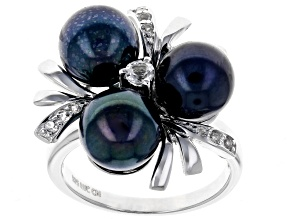 8mm Black Cultured Freshwater Pearl & White Topaz Rhodium Over Sterling Silver Ring