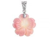 20mm Pink Conch Shell Rhodium Over Sterling Silver Flower Enhancer