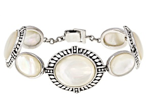 10-17mm Mother-Of-Pearl Rhodium Over Sterling Silver 7.5 Inch Bracelet