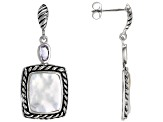 10-12mm White Cultured Freshwater Pearl & Amethyst Rhodium Over Sterling Silver Earrings