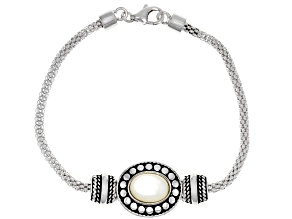 White Mother-Of-Pearl Rhodium Over Sterling Silver 7.5 Inch Bracelet