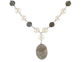 8-8.5mm White Cultured Freshwater Pearl & Labraodorite Rhodium Over Silver 20 Inch Necklace