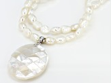 3-7mm White Cultured Freshwater Pearl & Mother-Of-Pearl Rhodium Over Silver 18