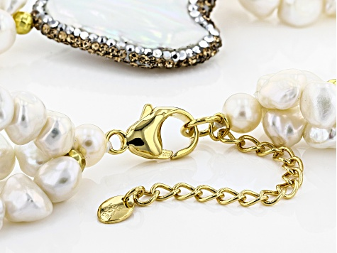 6-30mm Cultured Freshwater Pearl & Gold Hematine 18k Yellow Gold Over Silver 18 Inch Necklace