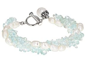 5.5-11mm Cultured Freshwater Pearl & Aquamarine Rhodium Over Silver 7.5 Inch Bracelet