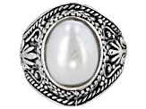 9x12mm White Cultured Freshwater Pearl, Rhodium Over Sterling Silver Ring