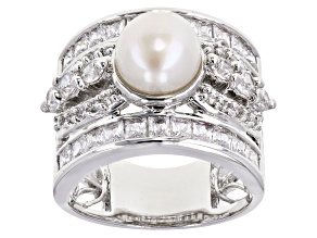 8mm Cultured Freshwater Pearl & Cubic Zirconia Rhodium Over Silver Ring