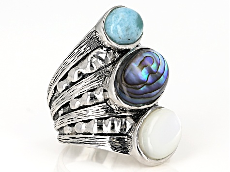 Abalone Shell, Larimar and White Mother-Of-Pearl, Rhodium Over Sterling Silver Ring