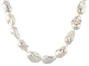 14-17mm White Cultured Freshwater Pearl, Rhodium Over Sterling Silver 18 Inch Necklace