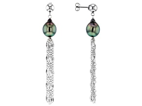 9.5-10mm Cultured Tahitian Pearl Rhodium Over Sterling Silver Tassel Earrings