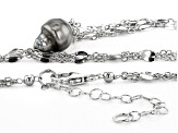 9.5-10mm Cultured Tahitian Pearl Rhodium Over Silver 18 Inch Tassel Necklace With Extender