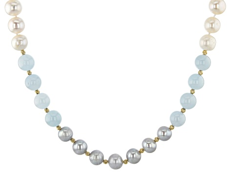 9.5-10.5mm Cultured Freshwater Pearl & Aquamarine 18k Yellow Gold Over Silver 18 Inch Necklace