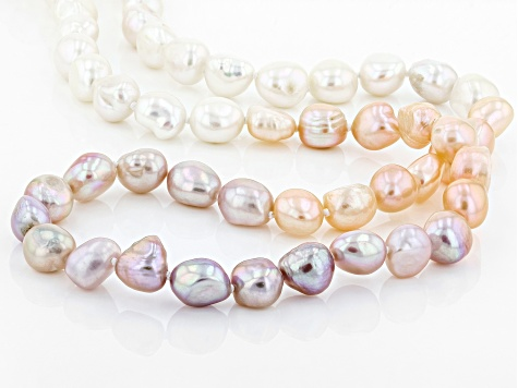 9-10mm Multi-Color Cultured Freshwater Pearl,  32 Inch Endless Strand Necklace