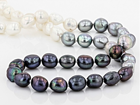 9.5-10.5mm Multi-Color Cultured Freshwater Pearl 32 Inch Endless Strand Necklace