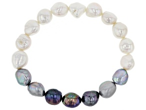 9.5-10.5mm Multi-Color Cultured Freshwater Pearl Stretch Bracelet