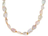 9-10mm Cultured Keshi Freshwater Pearl Rhodium Over Sterling Silver 18 Inch Necklace