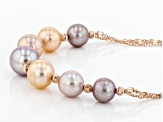 10.5-13.5mm Multi-Color Cultured Freshwater Pearl 18k Rose Gold Over Silver Station 18 inch Necklace